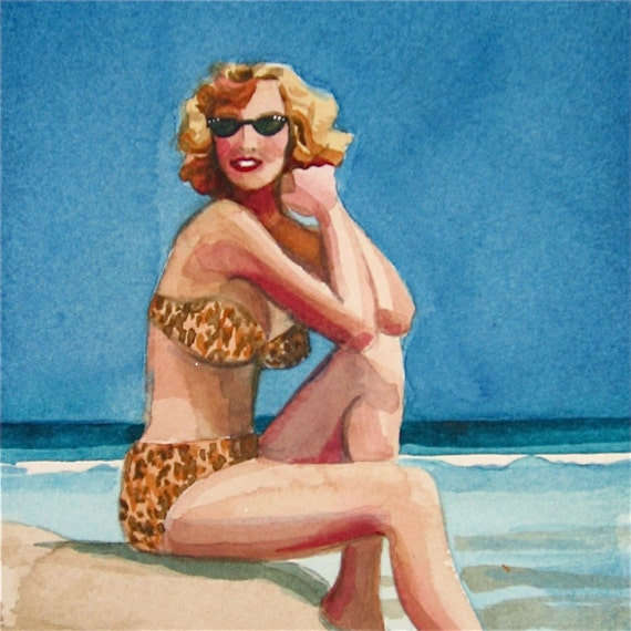 Bathing Beauty Jane - watercolor portrait by Gretchen Kelly
