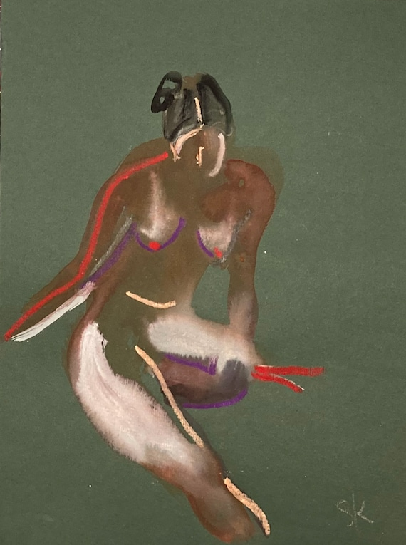 Nude painting- Original watercolor painting of Nude #1692 by Gretchen Kelly