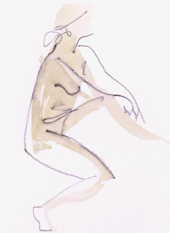 Nude painting of One minute pose 124.4 - Original watercolor painting by Gretchen Kelly, wall art, home decor