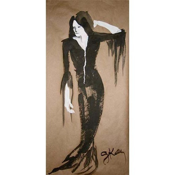 Morticia - original goulish gouache painting by Gretchen Kelly