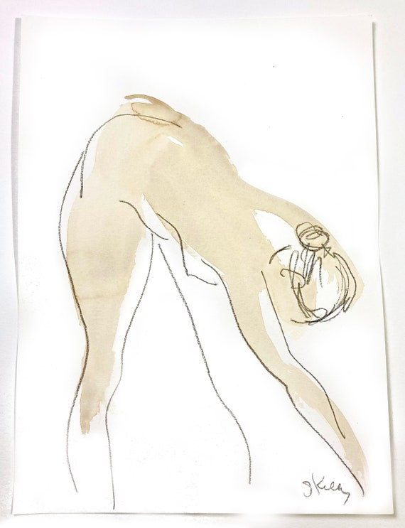 Nude painting of One minute pose 123.10 - Original nude painting by Gretchen Kelly