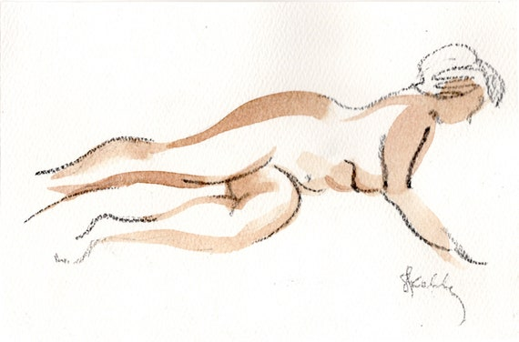Watercolor graphite painting of MINI NUDE 45- original  by Gretchen Kelly