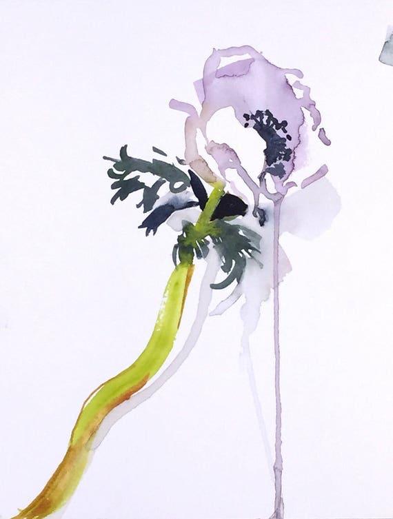 Watercolor painting -Anenome- original floral watercolor