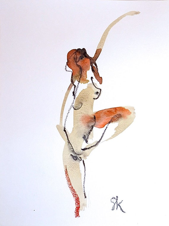 Nude painting of One minute pose 116.2 - Original watercolor painting by Gretchen Kelly