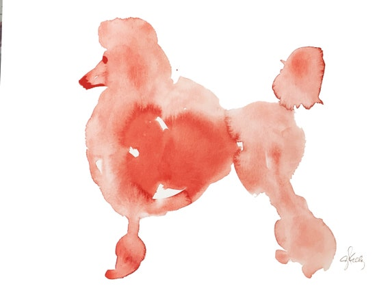 Original Watercolor painting of Red Poodle