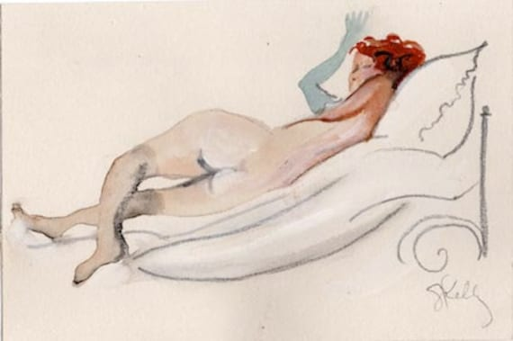 MINI NUDE 48- original watercolor painting by Gretchen Kelly