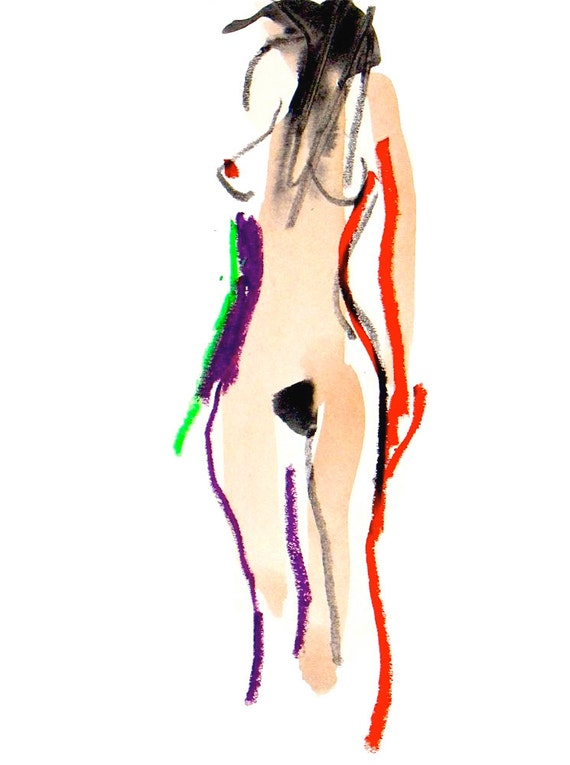 Nude Painting of One Minute Pose XC.5 - original painting by Gretchen Kelly
