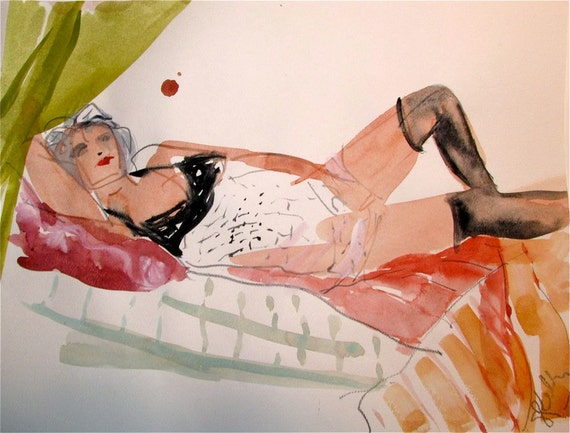 Semi-nude watercolor painting Boudoir Session 6.6 original painting by Gretchen Kelly
