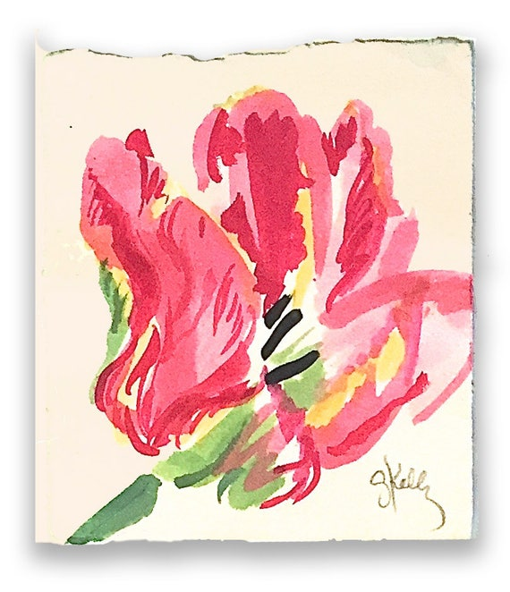 Watercolor painting-Tulip Sketch -original botanical study