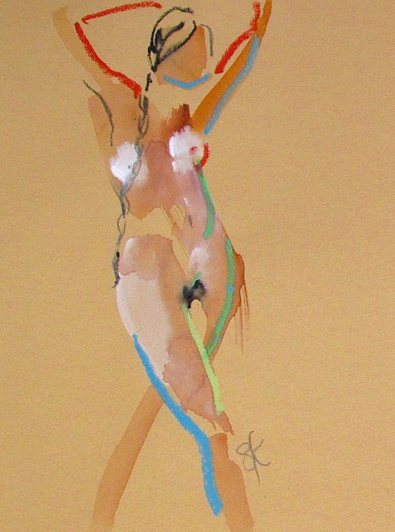Nude painting of One minute pose 93.2 Original painting by Gretchen Kelly