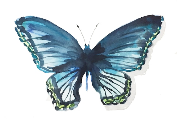 Giclee print of Blue Butterfly from original watercolor painting
