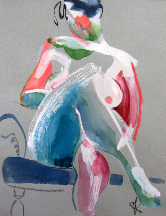 Nude painting- #1487 -original  by Gretchen Kelly