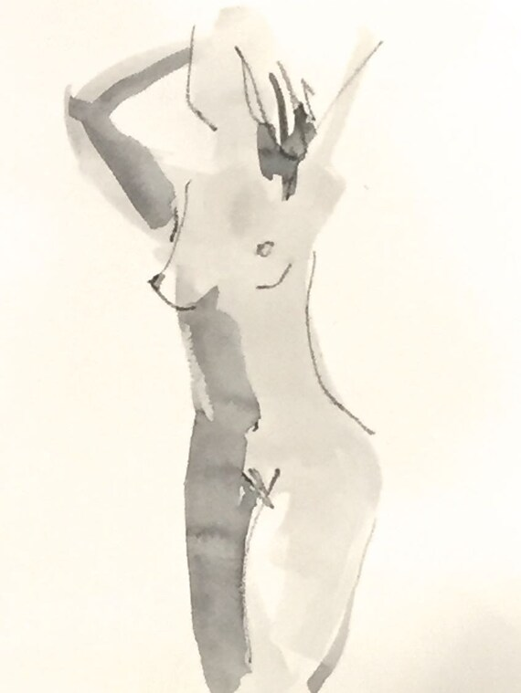Nude painting of One minute pose 114.7 - Original watercolor painting by Gretchen Kelly