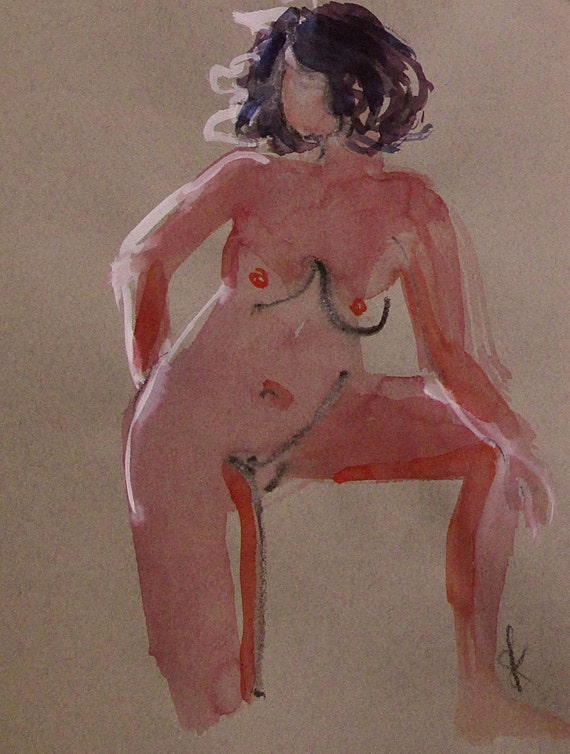 Nude painting- One minute pose 91.7 Original watercolor painting by Gretchen Kelly