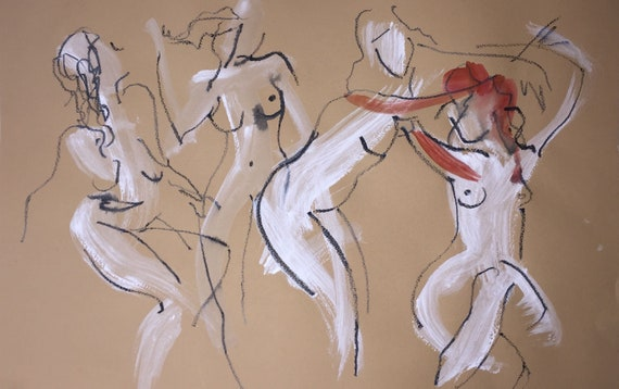 Painting of group of Nudes, One Minute Poses 117.1 Original gouache sketch by Gretchen Kelly