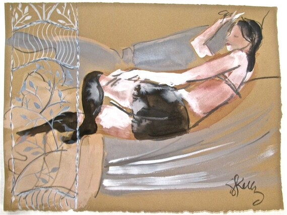 Boudoir Session 3.7 original watercolor nude painting by Gretchen Kelly