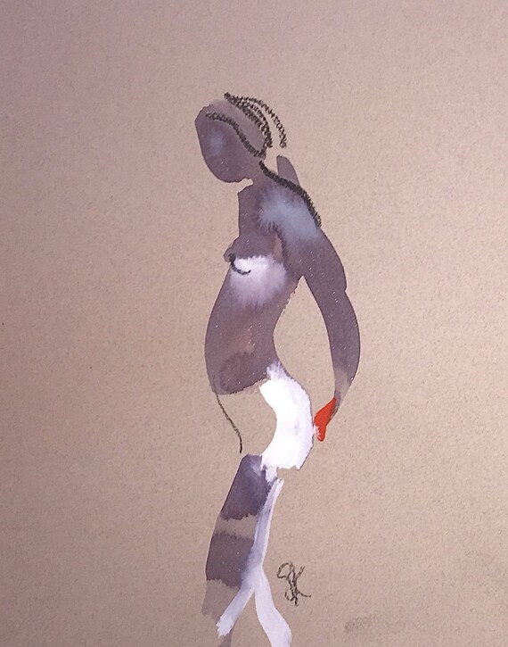 Nude painting of One minute pose 112.9 ,nude art, original, gesture sketch by Gretchen Kelly