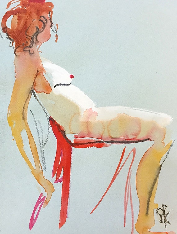 Nude painting- Original watercolor painting of Nude #1303 by Gretchen Kelly