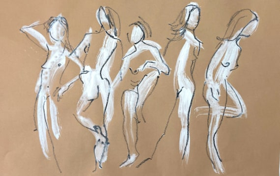 Painting of group of Nudes, One Minute Pose group 142 Original gouache sketch by Gretchen Kelly