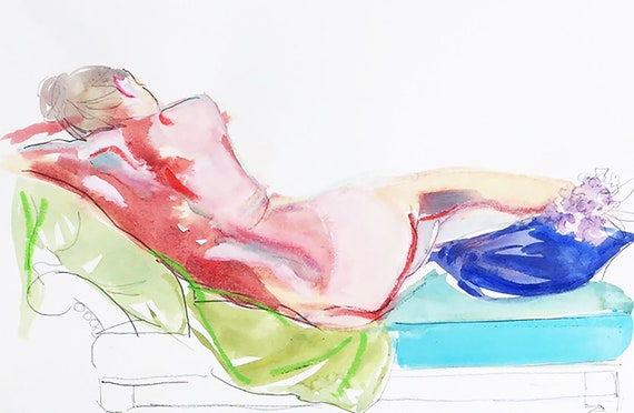 Nude painting- Original watercolor painting of Nude #1609 with Lilacs by Gretchen Kelly
