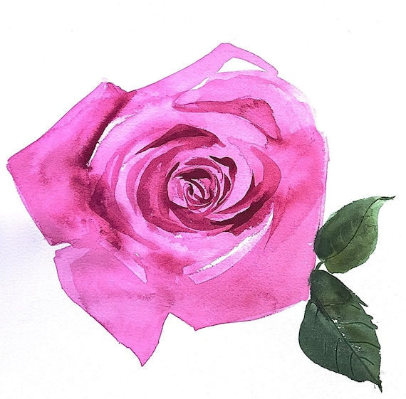 Original floral watercolor painting -Pink Rose