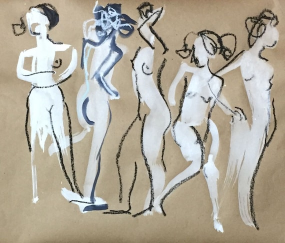 Painting of group of Nudes One Minute Poses 116.1 Original gouache and graphite sketch by Gretchen Kelly