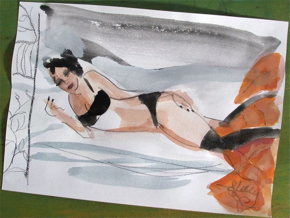 2 Semi nude Original Watercolor painting Boudoir Session#2 painting by Gretchen Kelly