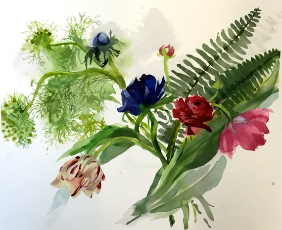 Watercolor painting -FLowers, Fluff + Ferns - original watercolor flower painting