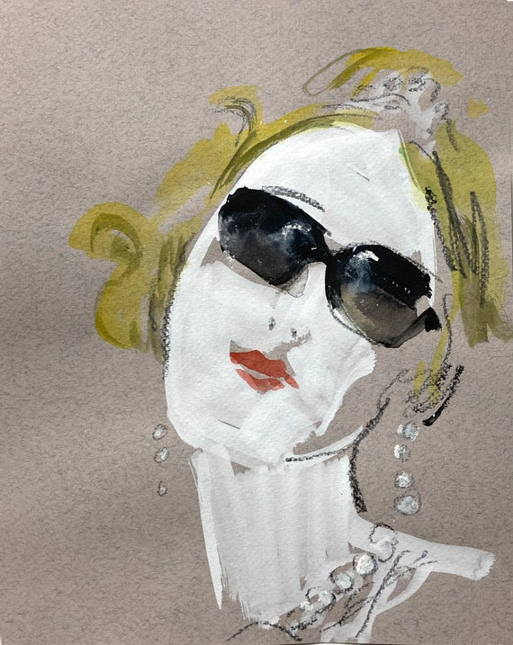 Classic Deb Portrait - Original watercolor painting by Gretchen Kelly, wall art, home decor