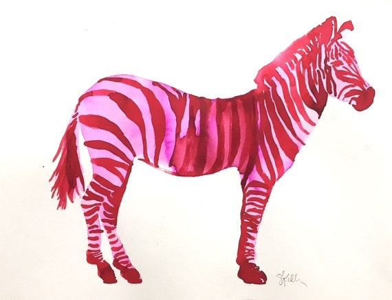 Original Watercolor painting of Pink Zebra Jungle Animal