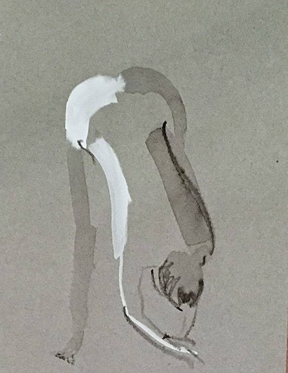 Nude painting of One minute pose 114.5 - Original watercolor painting by Gretchen Kelly