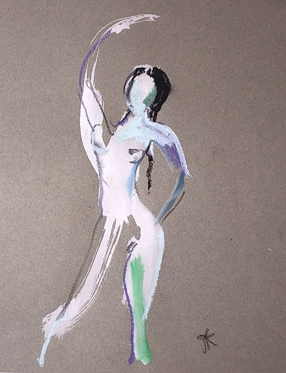 Nude painting of One minute pose 112.3 ,nude art, original, gesture sketch by Gretchen Kelly