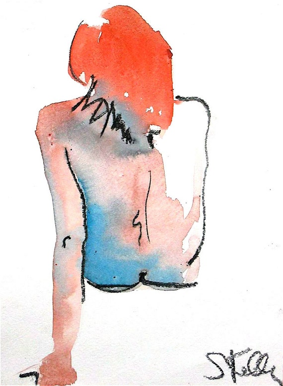 Nude painting- #253 original watercolor painting by Gretchen Kelly