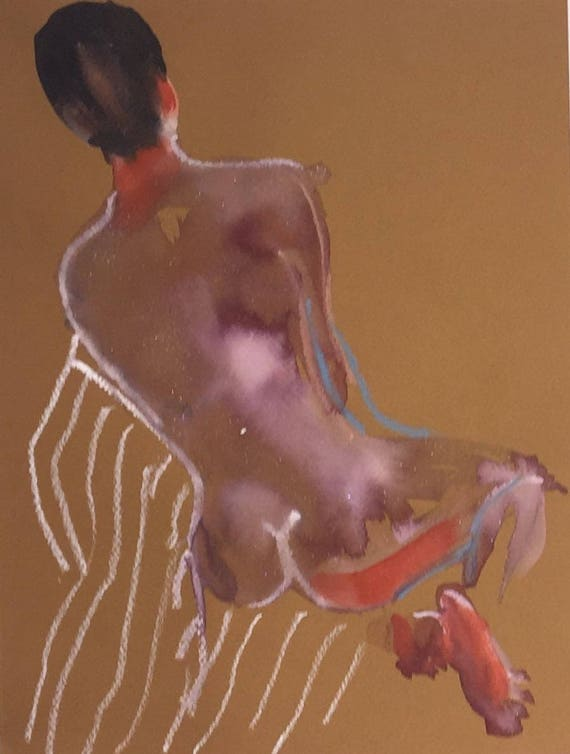 Nude painting- Original watercolor painting of Nude #1499 by Gretchen Kelly