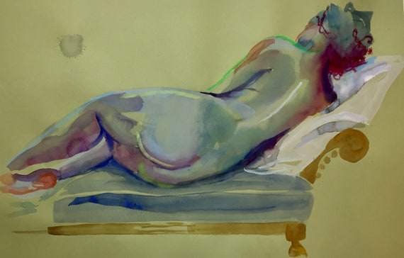 Nude painting- Original watercolor painting of Nude #1627 by Gretchen Kelly