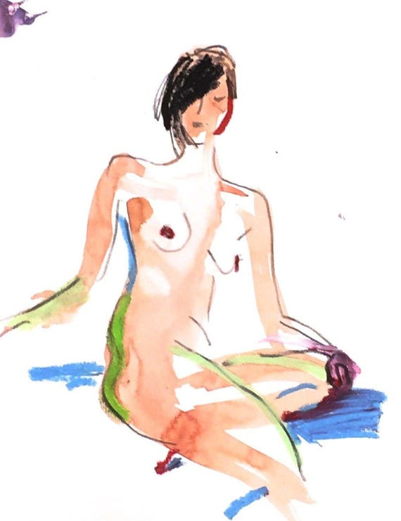 Nude painting- Original watercolor painting of Nude #1395 by Gretchen Kelly