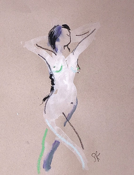 Nude painting of One minute pose 112.1 ,nude art, original, gesture sketch by Gretchen Kelly