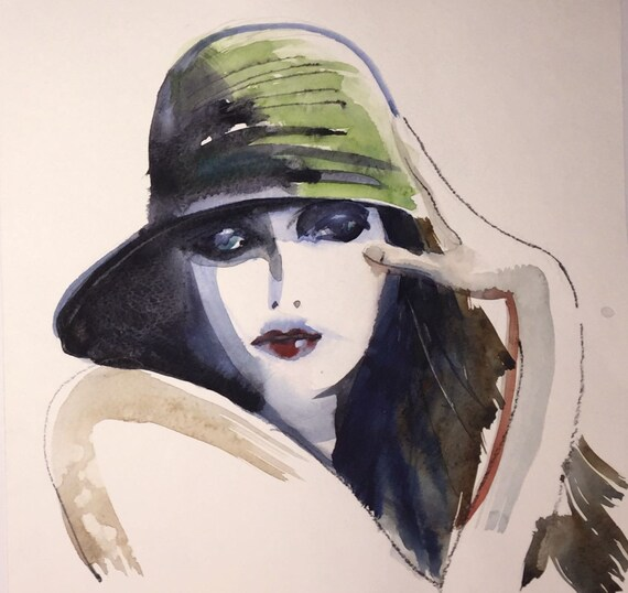 1920s Hat portrait- original watercolor portrait painting by Gretchen Kelly