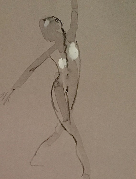 Nude painting of One minute pose 114.2 - Original watercolor painting by Gretchen Kelly