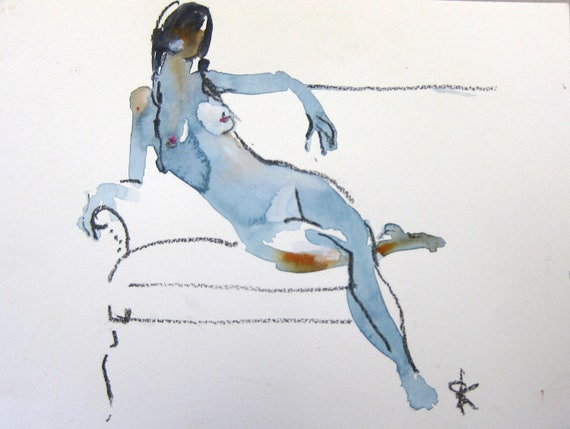 Nude painting- Original watercolor painting of Nude #1420 by Gretchen Kelly