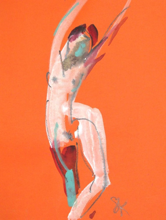 Nude painting of One minute pose 82.1, nude art, original, gesture sketch by Gretchen Kelly