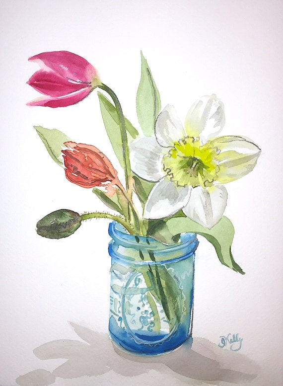 Watercolor flower painting-Bouquet in turquoise jar #2- original by Gretchen Kelly