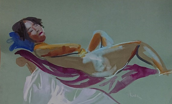 Nude painting- Original watercolor painting of Nude #1570 by Gretchen Kelly