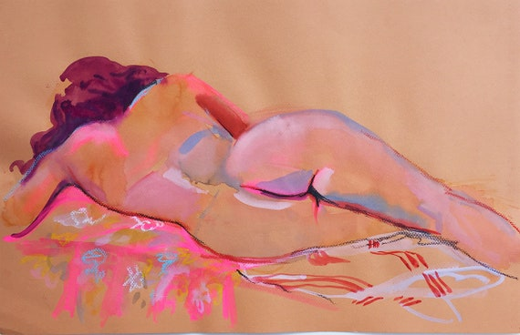Nude painting- Original watercolor painting of Nude #1615 Neon Pink by Gretchen Kelly