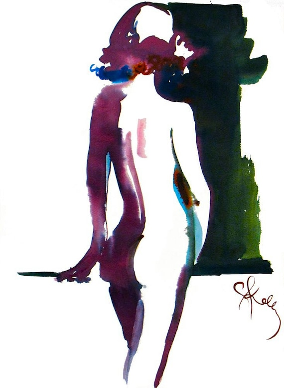 Nude Painting #1092 Original watercolor by Gretchen Kelly