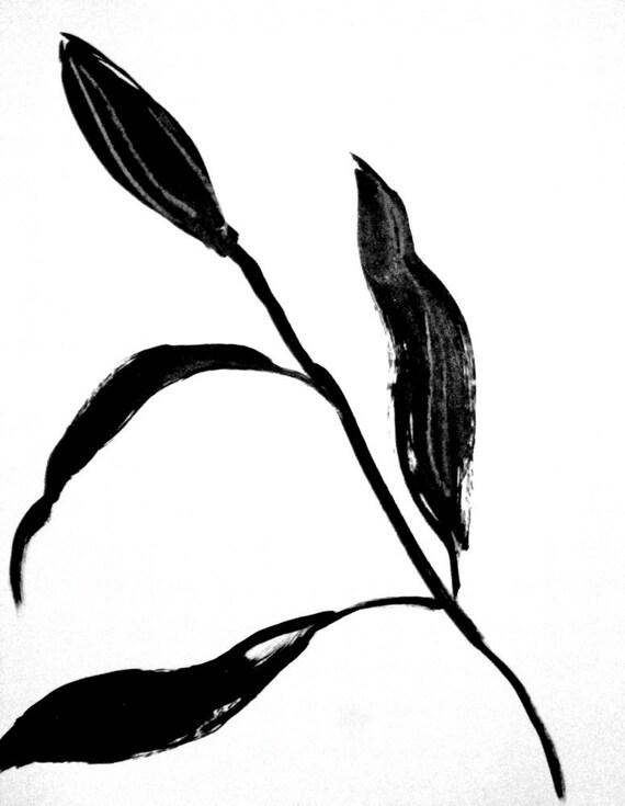 Black Goth Lily Bud 7- original painting by Gretchen Kelly