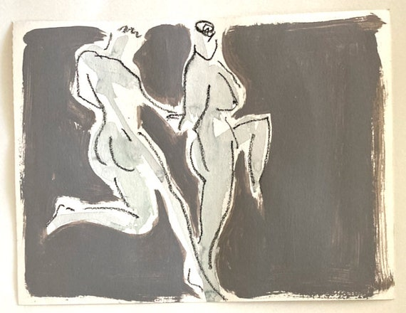 Nude painting of One minute pose group 147.1 - Original watercolor painting by Gretchen Kelly, wall art, home decor