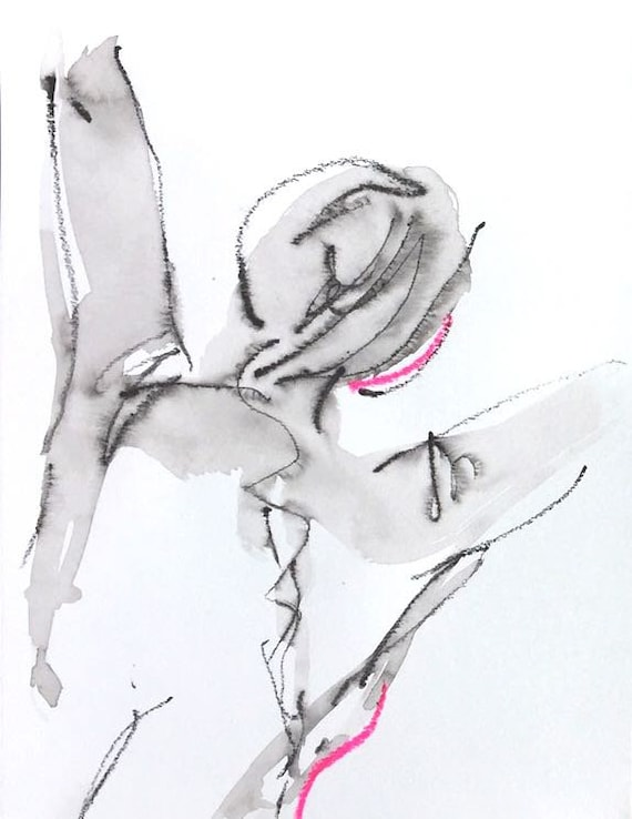 Nude painting- Original watercolor painting of One Minute Pose 119.2 by Gretchen Kelly