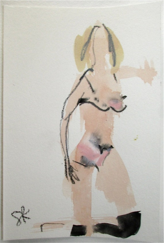 Nude Painting of Boudoir Session 5.3 original watercolor nude painting by Gretchen Kelly