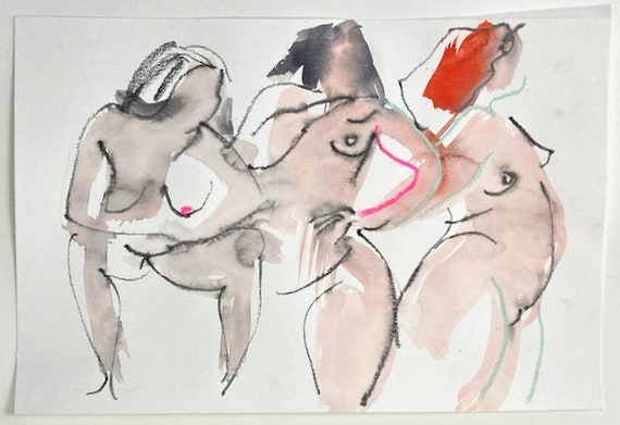 Nude painting of One minute pose group 144.3 - Original watercolor painting by Gretchen Kelly, wall art, home decor